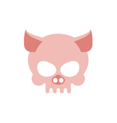 pig skull isolated pink swine skeleton head vector image