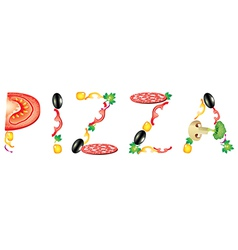 pizza word vector image