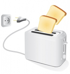 Plastic electric toaster with toast vector