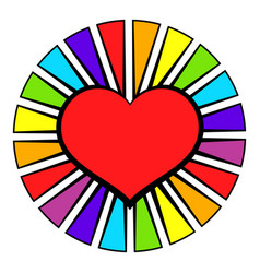 rainbow heart with color rays icon icon cartoon vector image