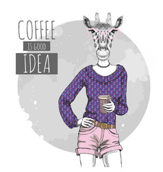 Retro hipster fashion animal giraffe with coffee vector