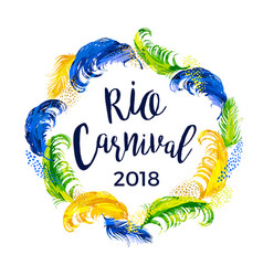 Rio carnival lettering design with feather frame vector