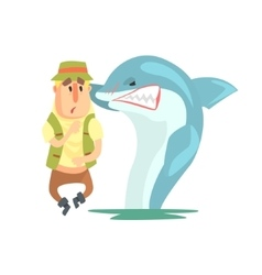 Scared Amateur Fisherman In Khaki Clothes Meeting vector image