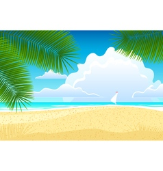 Sea landscape with palm trees vector image