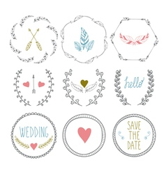 Set of hand drawn frames with wedding decorative vector image vector image