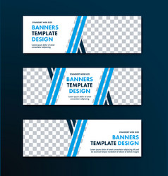 Set of white banners with place for photo and vector