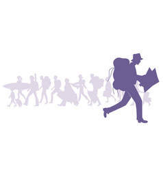 silhouette man with backpack running and vector image