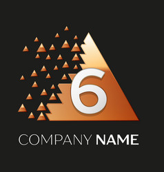 silver number six logo in pixel triangle shape vector image