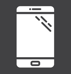 smartphone solid icon phone and touch screen vector image