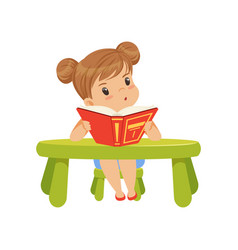 sweet little girl character sitting at the table vector image
