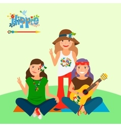Three hippie girls and guitar vector