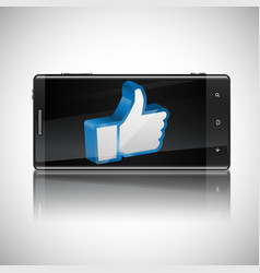 thumbs-up button on phone vector image