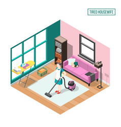 Tired housewife isometric composition vector