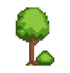 tree and bush pixel style vector image