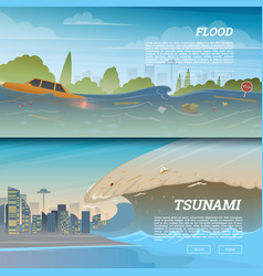 tsunami on tropical beach big waves and ocean vector image