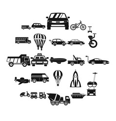 Two wheeler icons set simple style vector