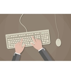 User hands on keyboard and mouse of computer vector image