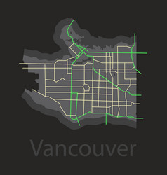 Vancouver city plan detailed flat map vector