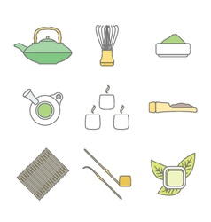 various colored outline japan tea ceremony vector image vector image