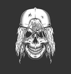 vintage monochrome skateboarder skull vector image