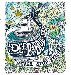 Watercolor vintage label with a ship whale and vector image