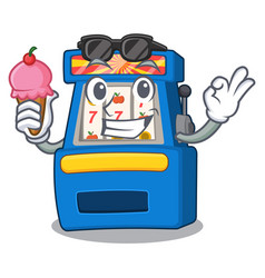 With ice cream slot machine isolated in the vector