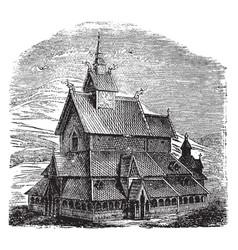 Wood church at burgund vintage vector