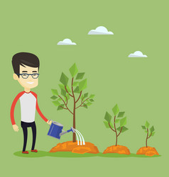 business man watering trees vector image vector image