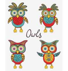 Cute colorful owls set vector