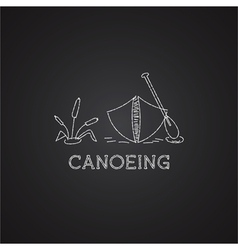 Canoe logo and icon Chalk drawing design on black vector image vector image