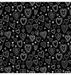 Chalk hearts sketch seamless texture vector image vector image