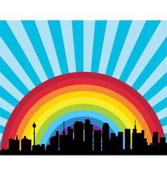 City and rainbow vector