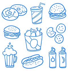 collection of food style doodle set vector image