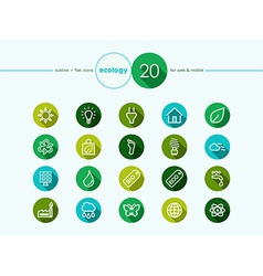 Green Ecology flat icons set vector image vector image
