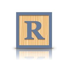 letter R wooden alphabet block vector image vector image
