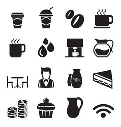 Silhouette coffee shop icons set vector