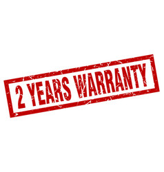 square grunge red 2 years warranty stamp vector image