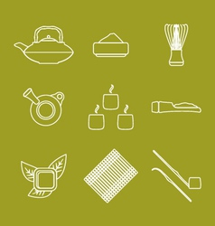 various outline japan tea ceremony equipment icons vector image vector image