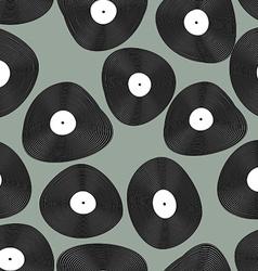 Vinyl LP seamless pattern Retro music background vector image