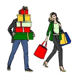 woman and man with shopping bag vector image