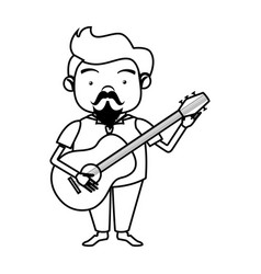 contour singer with acoustic guitar vector image