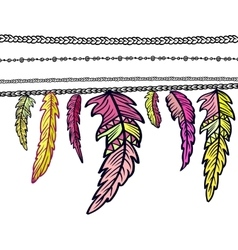 Dream catcher adorned with feathers vector image vector image