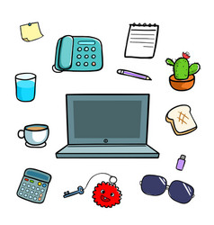 office equipment doodle style vector image vector image