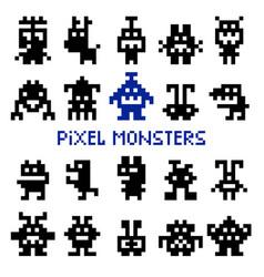 retro pixel space monsters vector image