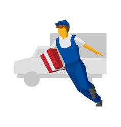 Running delivery man holding red gift box vector