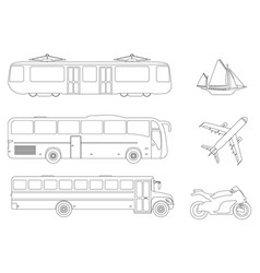 set of flat urban transport icon outline vector image vector image