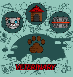 veterinary pharmacy flat concept icons vector image vector image