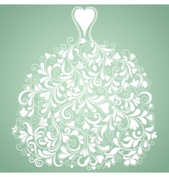 White wedding dress vintage silhouette vector image vector image