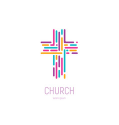 Abstract christian cross logo template vector