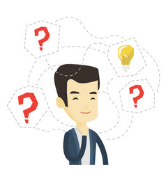 Asian businessman having business idea vector
